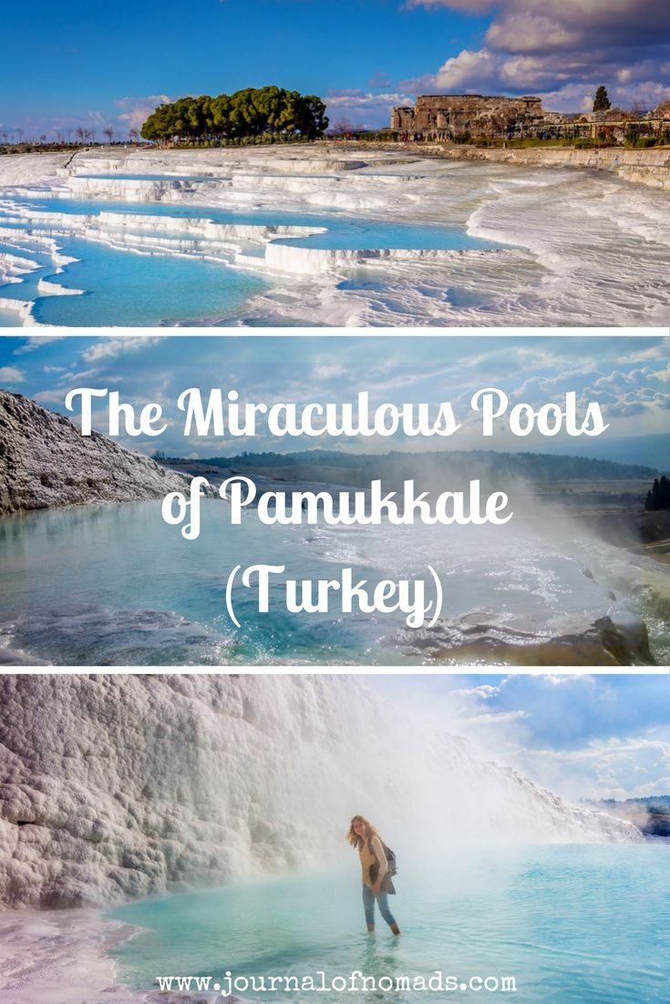 Pamukkale in Turkey: Cotton castle. Velvet white rocks. White paradise. Magically healing hot water springs. A place in Turkey you can't miss out on!!!
