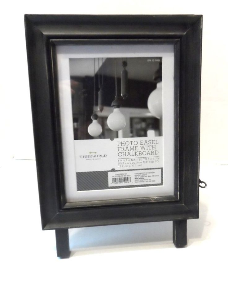 Photo Easel Frame with Chalkboard 6 x 8 Black Matted to 5 x 7 Tabletop Threshold #Threshold #Contemporary