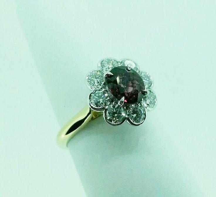 #ruby #diamond #cluster ring