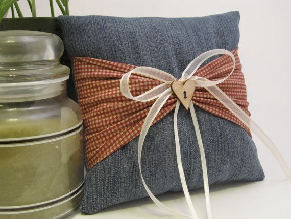 Denim Country Ring Bearer Pillow by occasionsbysarah on Etsy, $22.00