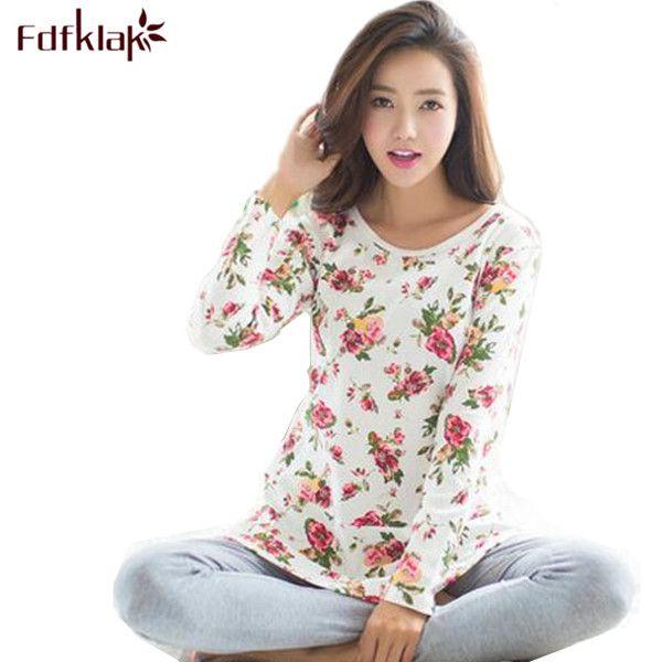 2017 New Print Pajamas Pyjama Femme Spring Autumn Winter Pijamas Women Pyjama Set Cotton Pajamas Home Clothes For Women E0018 #Affiliate