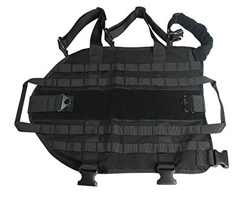 Army Tactical Dog Vest Military Dog Clothes Load Bearing Dog Training Molle Vest Black XL ** LEARN ADDITIONAL DETAILS @: http://www.best-outdoorgear.com/army-tactical-dog-vest-military-dog-clothes-load-bearing-dog-training-molle-vest-black-xl/