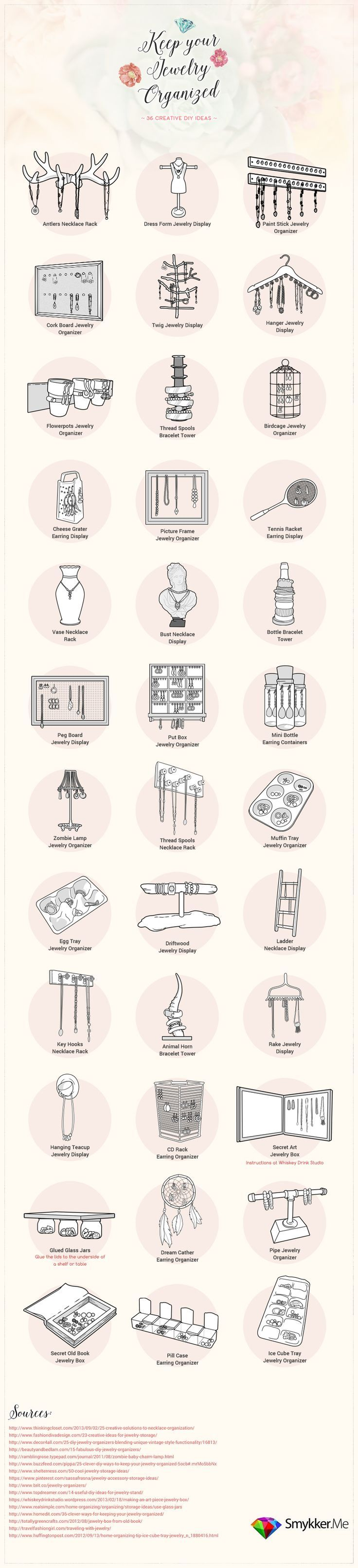 36 Creative Ways to Organize Jewelry – most of these can be done with things I a…