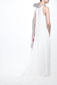 Blanco vestido de gasa de seda orgánica