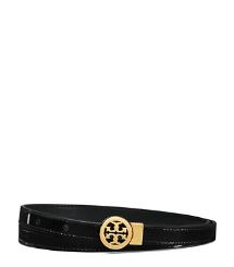 Tory Burch Patent Skinny Rotating Logo Belt  | Tory Burch