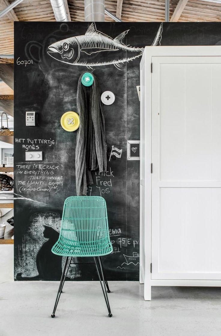 Wandkapstok - Knoophanger - Neon Geel - Witte steek - Large - HK Living kopen? - Woonwebwinkel LiL.nl
