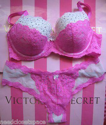 victoria secret-dream angels bling pink demi bra + cheeky set *