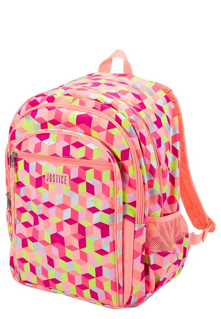 Coral Geometric Backpack