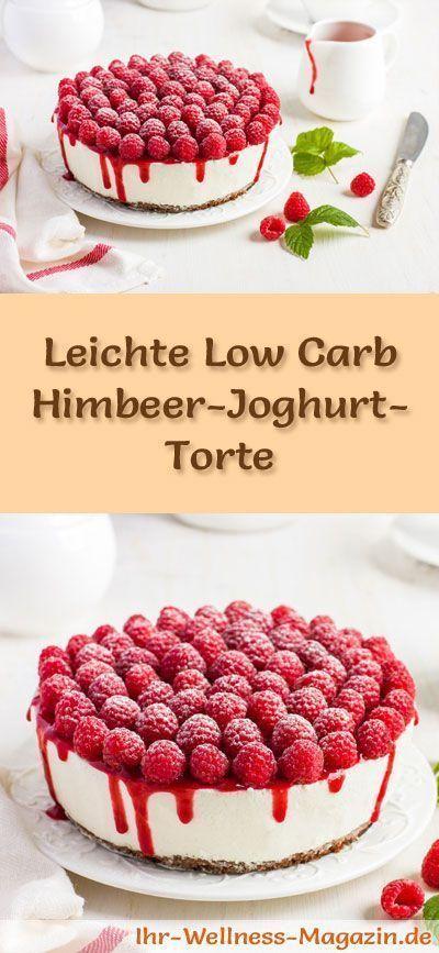 Rezept für eine leichte Low Carb Himbeer-Joghurt-Torte: Die kalorienreduzierte Joghurt-Torte mit Himbeeren wird ohne Zucker und Getreidemehl gebacken. Sie ist kohlenhydratarm ...