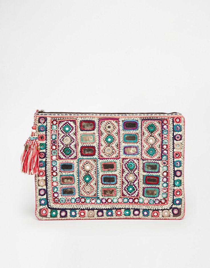 Star Mela - Sari - Pochette ornementée fabriquée à la main avec dessus zippé