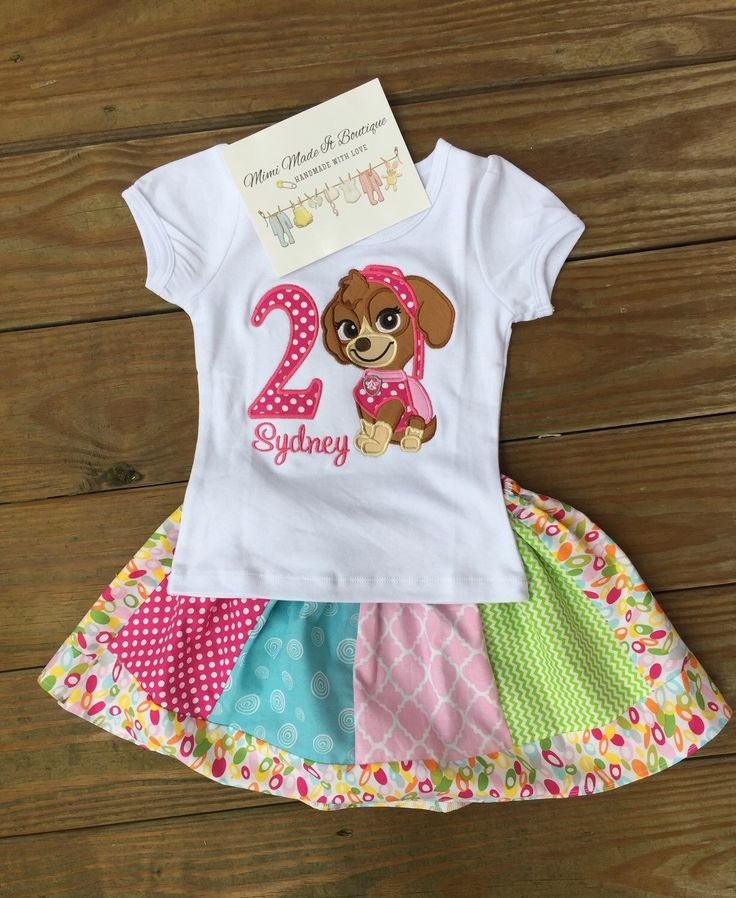 A personal favorite from my Etsy shop https://www.etsy.com/listing/263070133/skye-paw-patrol-birthday-outfit