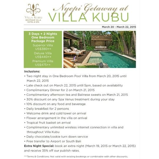 special package for #Nyepi 3 day +2 night at villa kubu { www.geriabalivacation.com/villa-kubu/ bali } contact us directly : Email :info@geriabalivacation.com WA : 089 685555 797  #bali #nyepiday #silent #Holiday #baliholiday #Indonesia #hgtv #nevergoingtoboycottbali #tgif #luxwt #luxurybali #balivillas #geriabali #seminyak #Kuta #pinktrotters #thegoldlist #roomcritic #tbt #destinosmaravilhososbyeli #beautifudestinations #earthpic #beautifuldestination #magicpict