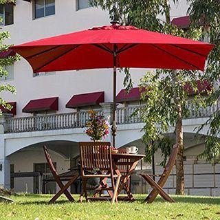 Abba Patio Dark Red Aluminum/Steel/Polyester 7u0027 X 9u0027 Rectangular Solar  Powered LED 28 Light Outdoor Umbrella With Tilt (7 X 9 Feet, Dark Red), Size  9 Foot # ...