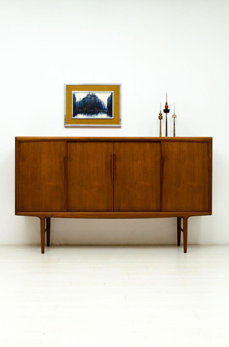 60er teak kommode l chest of 4 drawers l danish modern design l 60s l - Deens Highboard Hoog Dressoir Uit De Jaren 60 Een Vondst Waar Wij Heel