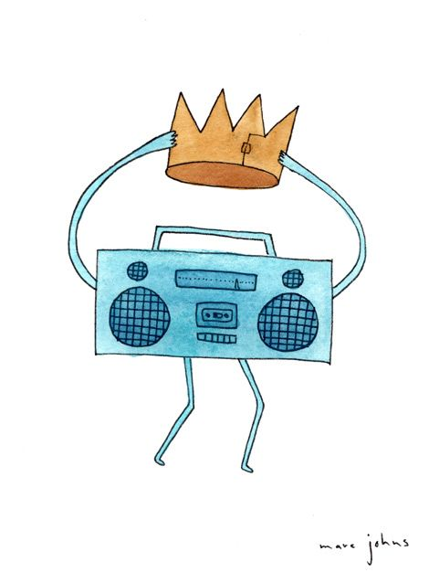Marc Johns: Drawing: Music, Marcjohn Com, Radios Ilustração, Crowns Art, Products Avail, Art Prints, Boombox Hold, Marc John, Paper Crowns