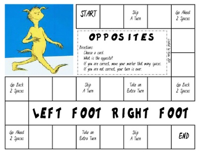 Dr. Seuss game created to go with The Foot Book to practice opposites.