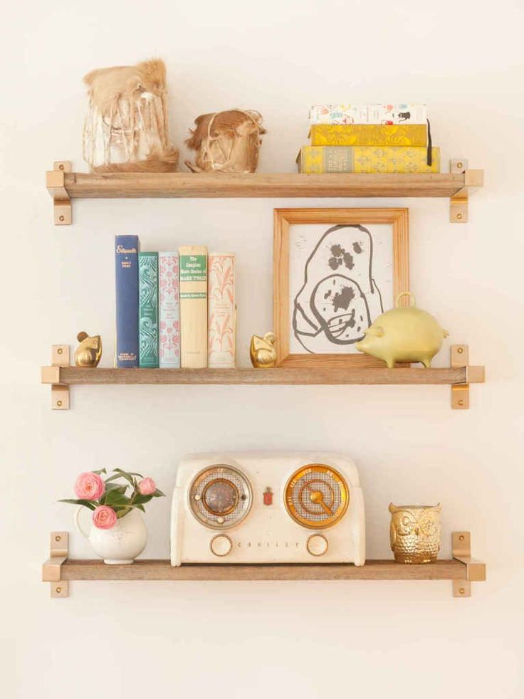 Ikea Hack Gold Spray Paint EKBY BJARNUM Shelf brackets - totally going to do this with pallet wood in the front entry!