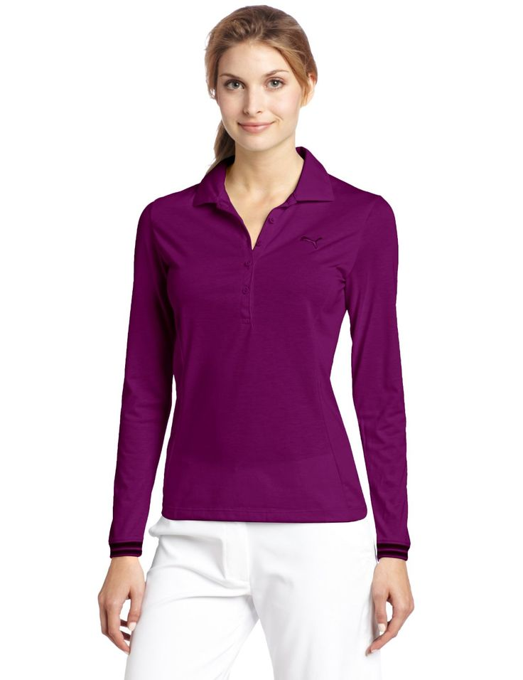 Offering a moisture wicking finish and anti-microbial fresh guard this womens sport long sleeve golf polo shirt by Puma will ensure you stay dry and comfortable all day long