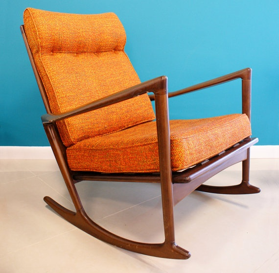 modern rocking chairs selig orange you glad the jetsons danish modern ...