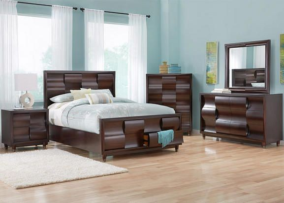 Our Eclipse queen storage bedroom set makes your wavy design fantasies  become reality