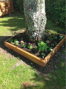 Raised Garden Bed - Tutorial - really simple. Can be built around a tree or not.