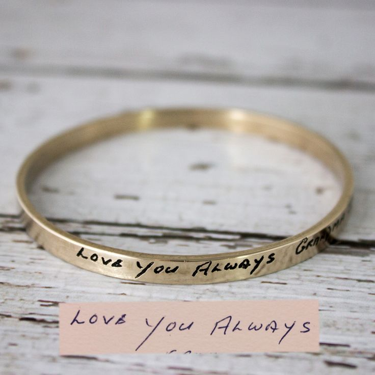 Personal handwriting in metal. You send a photo of the writing and we will create a sentimental gift - Scripted Jewelry