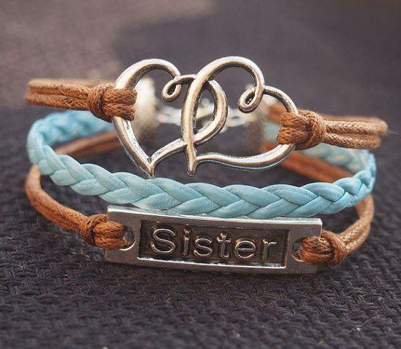 Double heart bracelet, sister bracelet, Silver Color, Brown wax cord Blue Braid Bracelet Personalized Jewelry for Her $5.99 USD
