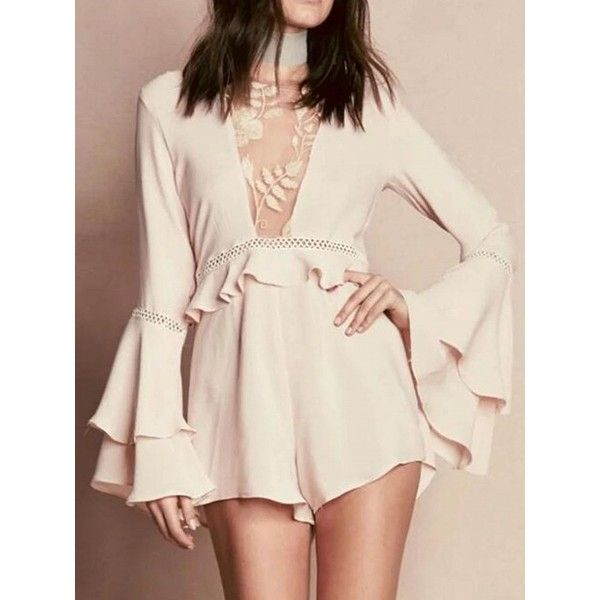 Choies Pink Embroidery Mesh Panel Ruffle Flared Sleeve Romper Playsuit ($25) ❤ liked on Polyvore featuring jumpsuits, rompers, white, ruffle rompers, pink ruffle romper, pink romper, white romper and ruffle romper