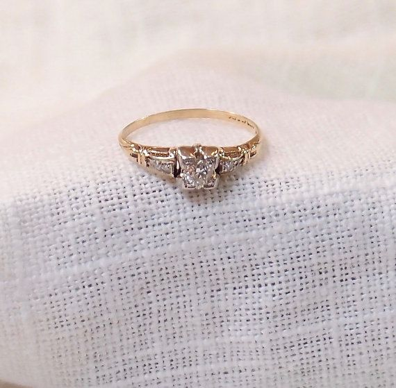 Vintage 14k Gold Diamond Enagement Ring by MagpieVintageJewelry