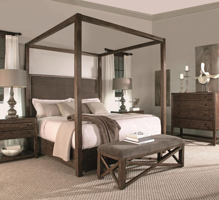 bernhardt elements king canopy bed with upholstered headboard panel in bark