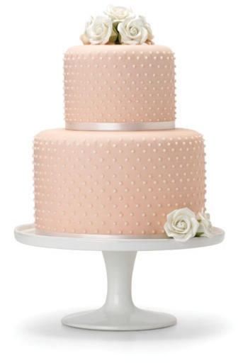 Pastel peach with dainty rose details, vintage inspired cake.