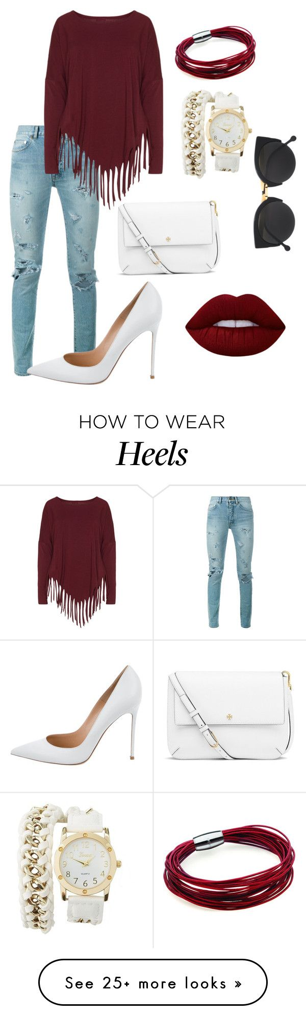 """White heels"" by nicoletay1or on Polyvore featuring Yves Saint Laurent, Boris, Gianvito Rossi, Charlotte Russe, Tory Burch, Lime Crime and RetroSuperFuture"