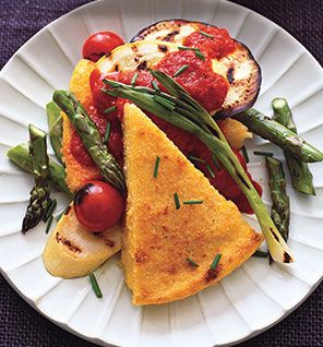 Polenta and Vegetables With Roasted Red Pepper Sauce: Red Peppers Sauces, Food, Vegetarian Recipe, Roasted Vegetables, Vegetarian Meals, Go Vegetarian, Roasted Veggies, Vegetarian Dinner, Roasted Red Peppers