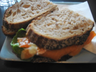Sushi Sandwich from Jason Bakery- salmon, wasabi mayo, ginger, sesame seeds with lettuce on wholewheat bread- perfection!