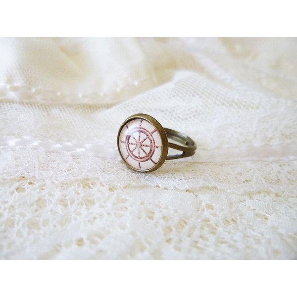 Rudder Ring, Ship Wheel Ring, Nautical Ring, Retro Ship Wheel, Rudder,... ($17) ❤ liked on Polyvore featuring jewelry, rings, retro jewelry, retro style jewelry, retro rings, nautical jewelry and nautical rings