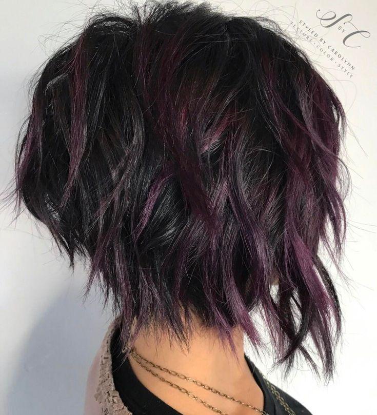 Black Shaggy Bob With Purple Balayage