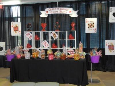 Queen of hearts candy buffetWonderland Parties, Candies Buffets, Queen Of Hearts, Alice, Prom 2014, Parties Ideas, Heart Candies, Candies Bar, Casino Night