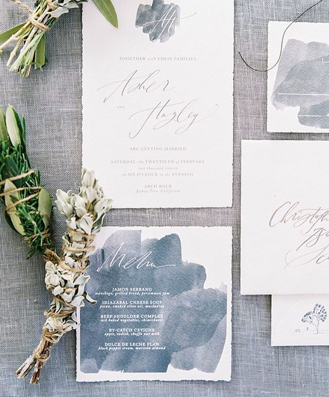Dusty blue watercolor wedding invitation.