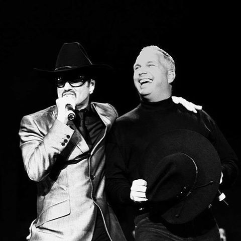 George Michael with country star Garth Brooks at the equalityrocks concert in 2000