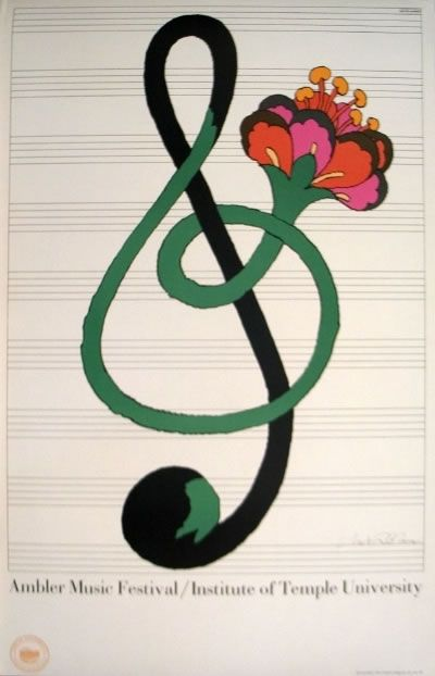 Portrays abstract art with the flower being part if the music note.