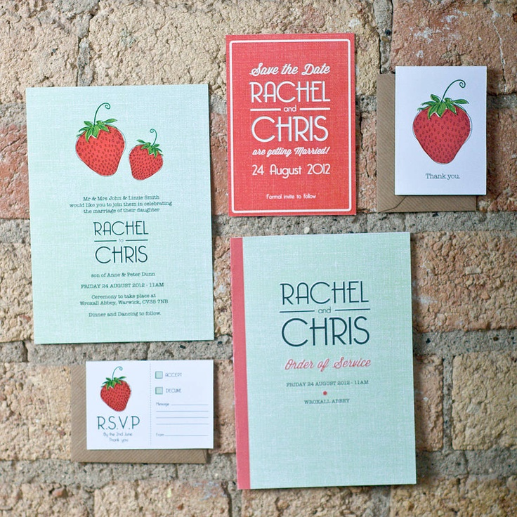 Personalised Strawberry Invitations, Save the Date, Order of Service, Thankyou cards and RSVP