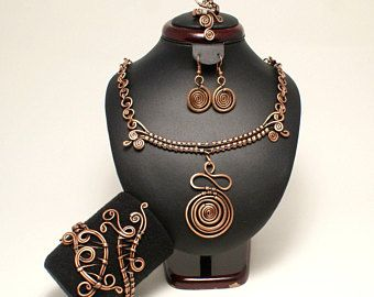 Sistema de la joyería de cobre, cobre collar pendiente, cobre, pulsera anillo, cobre de cobre, alambre envuelta joyería hecha a mano, joyería, regalos únicos para mujeres