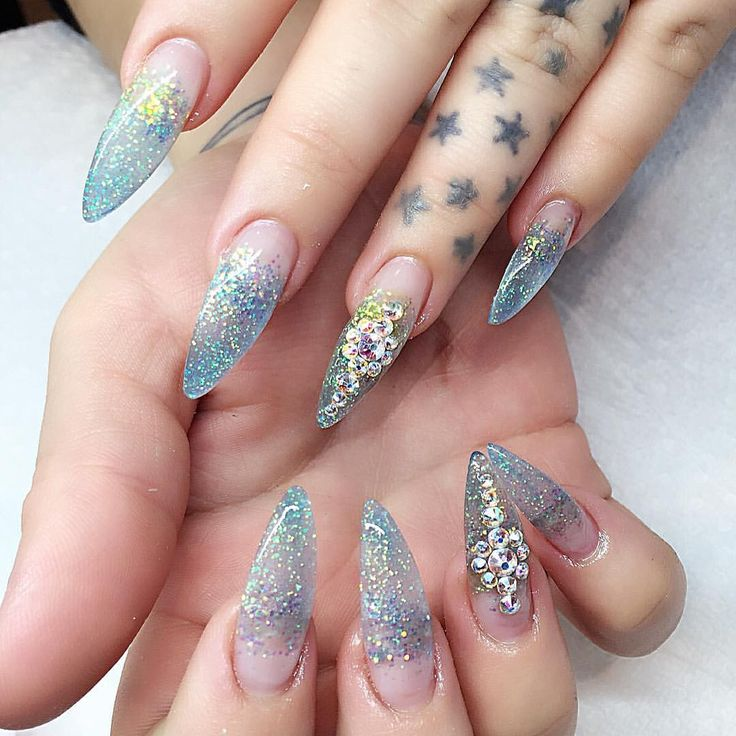 clear glitter nails ideas
