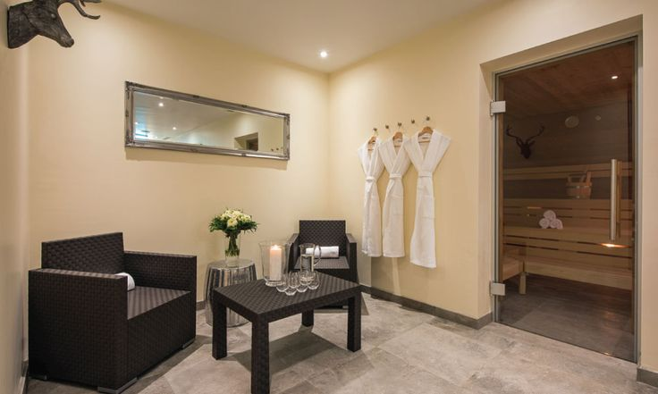 Luxury spa area with steam room, sauna, pool with jet stream, gym, treatment room and relaxation area #luxurychalet #stanton #largechalet #spa