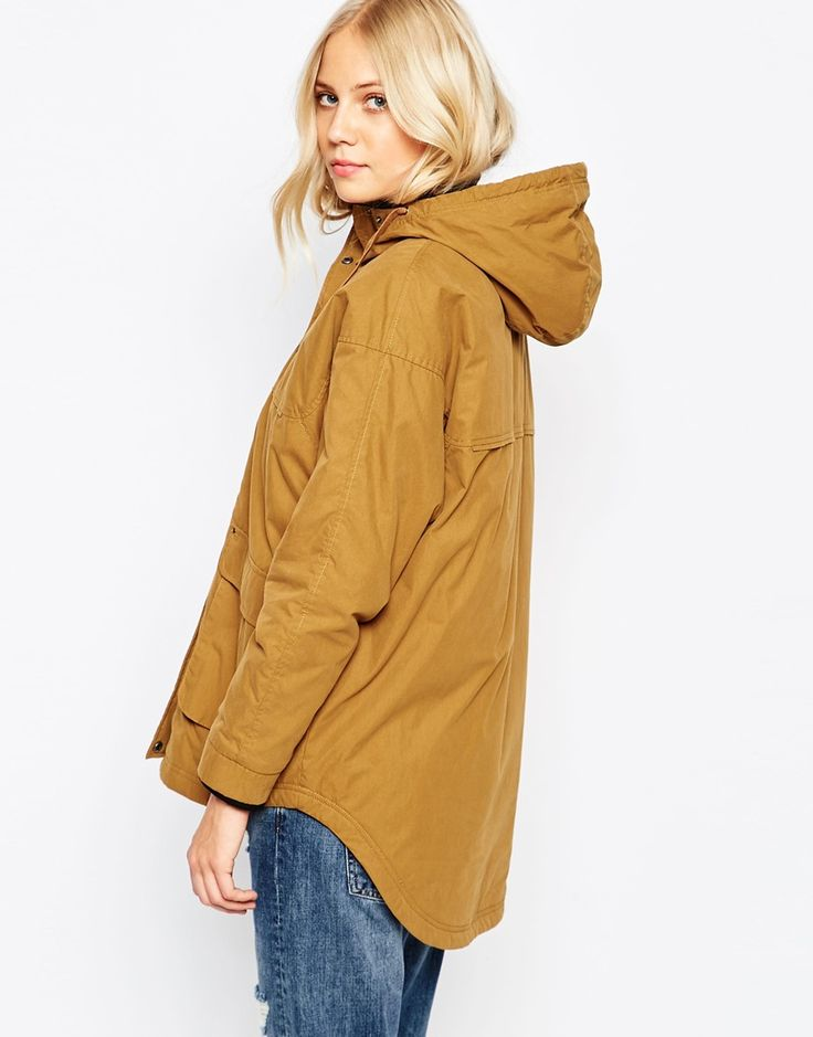 Image 2 ofParka London Petra Hooded Coat In Mustard With Dipped Hem