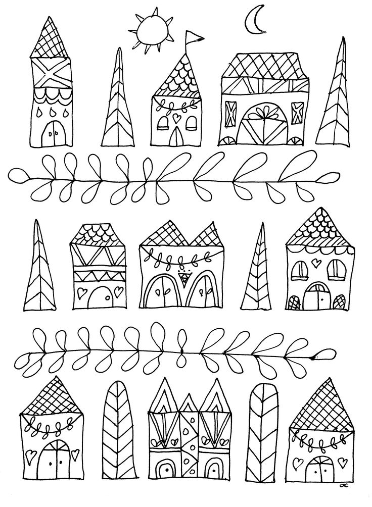free coloring page coloring simple houses simple drawing with cute houses - Free Simple Coloring Pages