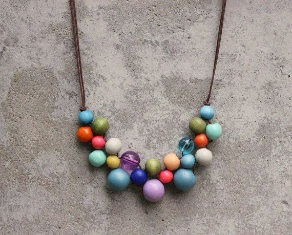 Wooden bead necklace, boho bib necklace, gypsy, lilac, nectarine, blue, peach, bright pastels, vintage colours, fashion colours, woven.