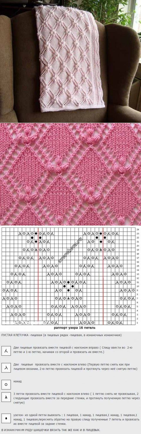Diamond bobble lace knit pattern