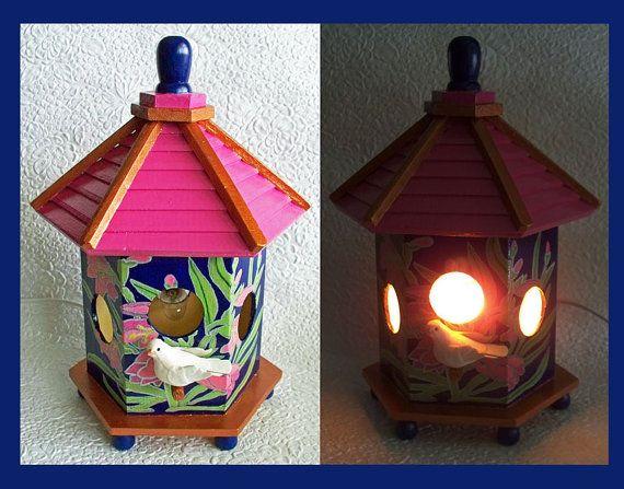 Birdhouse Night Light Lamp detailed hand by RFClocksandLights, $30.00
