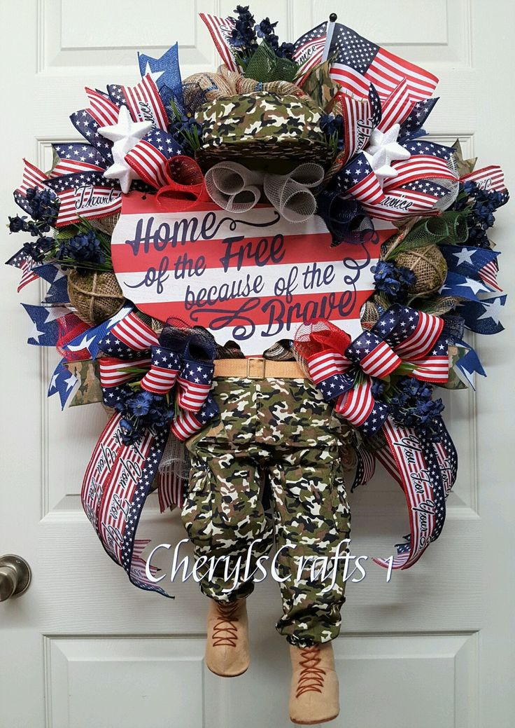 Patriotic Wreath,Soldier Wreath,Military Wreath,Independence Day Wreath,July 4th Decor,Army Wreath,Marine Wreath by CherylsCrafts1 on Etsy